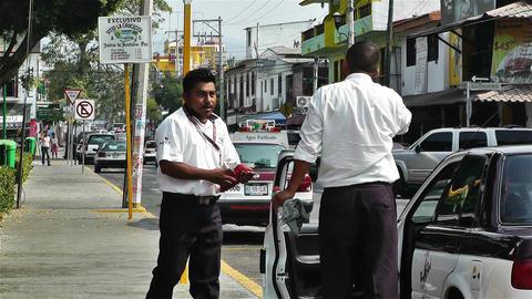Oaxaca Crucecita Town Mexico 9 taxi drivers Stock Video Footage
