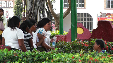 Oaxaca Crucecita Town Mexico 23 women talking Stock Video Footage