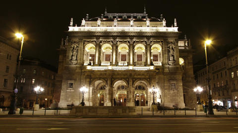 Opera Budapest Hungary at Night 2 Stock Video Footage