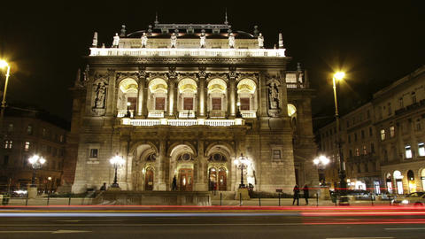 Opera Budapest Hungary at Night 2 Footage