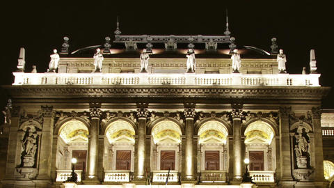 Opera Budapest Hungary at Night 4 Stock Video Footage