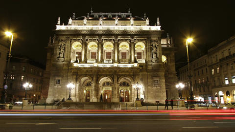 Opera Budapest Hungary at Night 4 Footage
