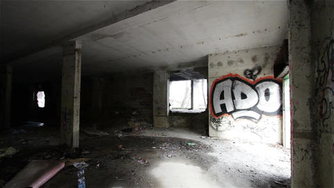 Scary Abandoned Building 4 pan left Stock Video Footage