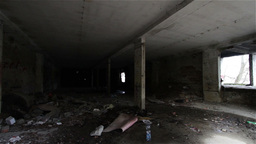 Scary Abandoned Building 4 pan left Footage
