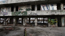 Scary Abandoned Building 6 pan right Stock Video Footage