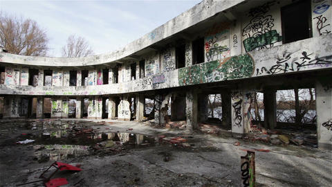 Scary Abandoned Building 7 pan left Stock Video Footage