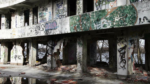 Scary Abandoned Building 8 pan right Stock Video Footage