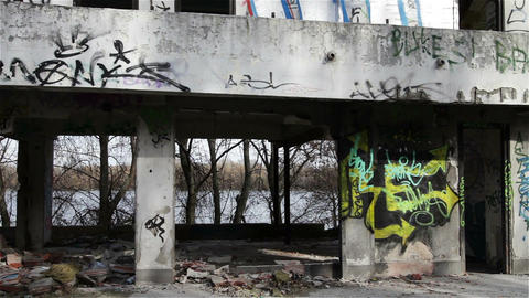 Scary Abandoned Building 9 pan left Stock Video Footage