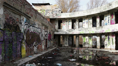 Scary Abandoned Building 10 pan right Stock Video Footage