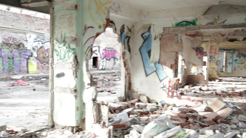 Scary Abandoned Building 11 pan right left Stock Video Footage