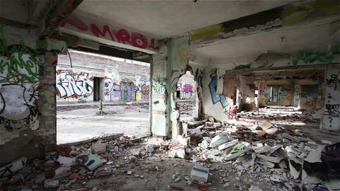 Scary Abandoned Building 12 pan right Stock Video Footage