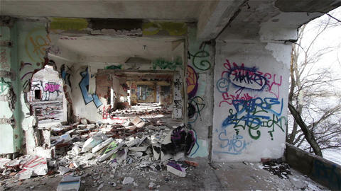 Scary Abandoned Building 13 pan left Stock Video Footage