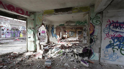 Scary Abandoned Building 13 pan left Footage