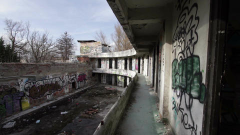 Scary Abandoned Building 14 pan left Stock Video Footage