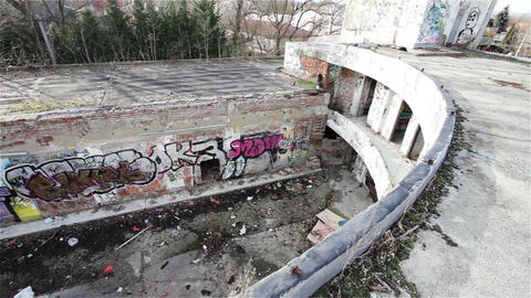 Scary Abandoned Building 15 pan right Stock Video Footage