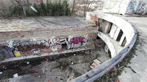 Scary Abandoned Building 16 pan right Stock Video Footage