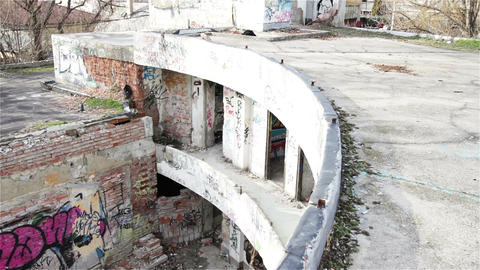 Scary Abandoned Building 18 pan left Stock Video Footage