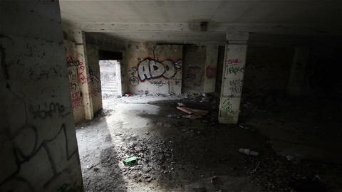 Scary Abandoned Building 19 pan right Stock Video Footage