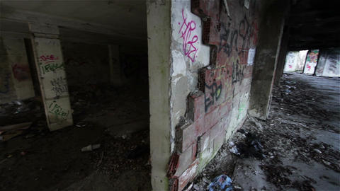 Scary Abandoned Building 19 pan right Footage