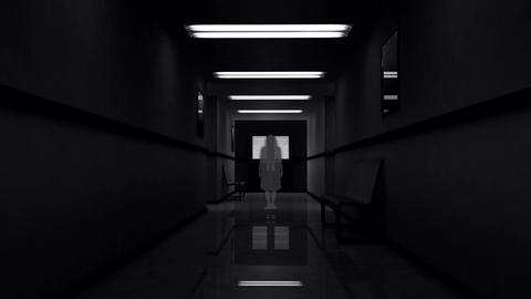 Scary Hospital Corridor 5 yurei Stock Video Footage