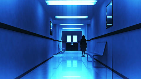 Scary Hospital Corridor 7 yurei Stock Video Footage