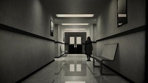 Scary Hospital Corridor 9 yurei vintage Stock Video Footage