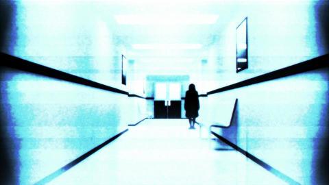 Scary Hospital Corridor 11 yurei security cam Stock Video Footage
