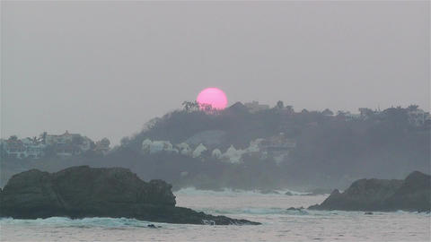 Tropical Sunrise in Hazy Morning Timelapse Stock Video Footage