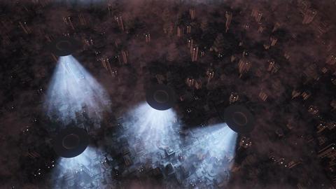 UFO Invasion Scanning in Metropolis 13 Stock Video Footage