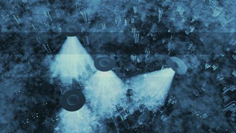 UFO Invasion Scanning in Metropolis 15 Stock Video Footage
