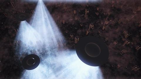 UFO Invasion Scanning in Metropolis 17 Stock Video Footage