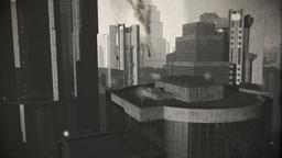 UFO Invasion Scanning in Metropolis 21 vintage Stock Video Footage