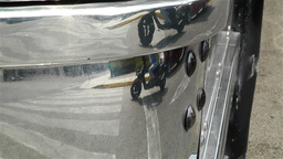 Zebra Crossing in Chrome Bus Reflection Stock Video Footage