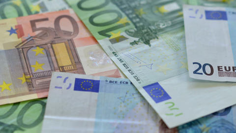 Many  Euro  Money  Dolly   DOF  Close 10889 stock footage