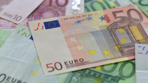 many euro money dolly DOF close 10889 Stock Video Footage