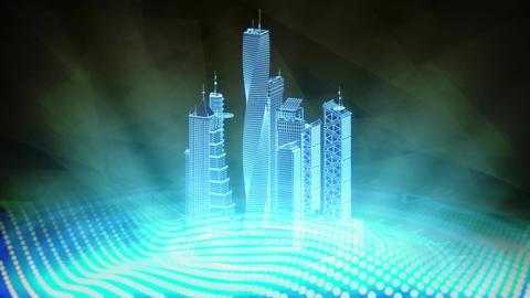 poligonal city buildings rotates, cg industrial 3D animation Animation