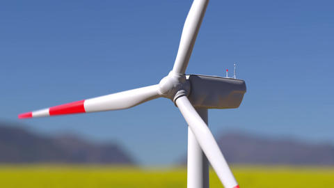 Flyby drone view of wind turbine working in summer sunny landscape Animation