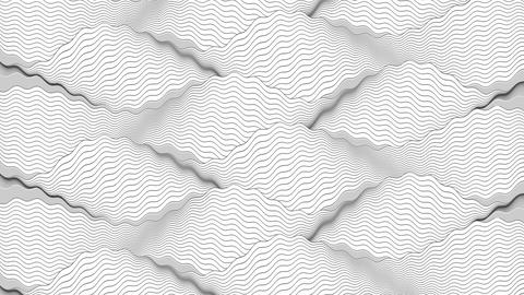 Black and white wavy ripple lines video animation CG動画素材
