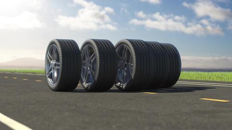 Loop car tires rolling on asphalt in the summer Animation