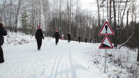 Cloned women in cap Santa Claus, seamless loop Stock Video Footage
