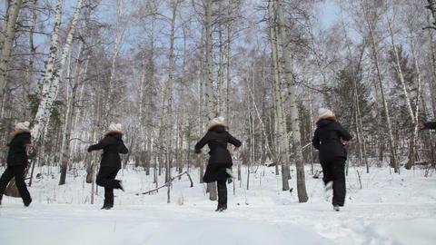 Ballet in the woods, seamless loop Stock Video Footage