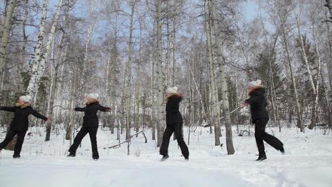 Ballet in the woods, seamless loop Footage