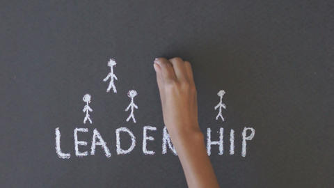 Leadership Chalk Drawing stock footage