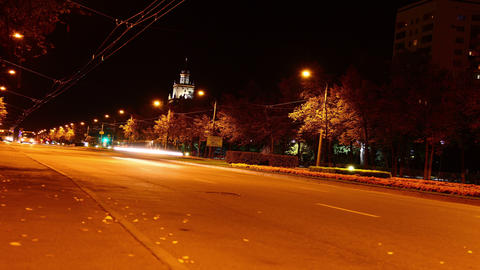 Time lapse of a car driving in the city at night. High... Stock Video Footage