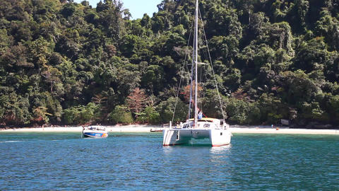 Boat floats on the sea Stock Video Footage