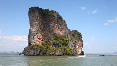 View of the island by boat Stock Video Footage