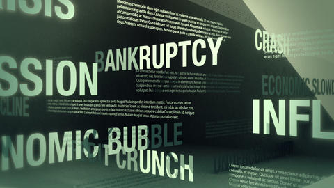 Economic Recession Related Words Loop Stock Video Footage