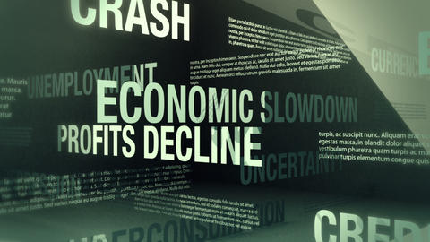 Economic Recession Related Words Loop Animation