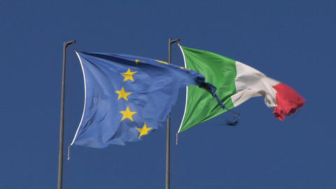 Flag EU Italy stock footage