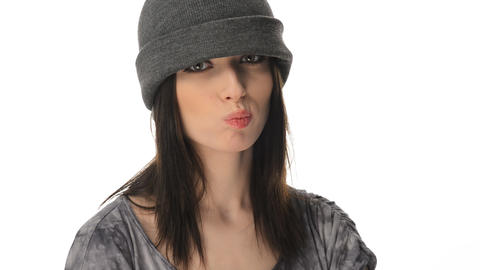 Insolent but beautiful teenager girl in a cap Stock Video Footage